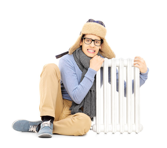 Man hugs radiator